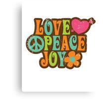 1970s Vintage Retro Style Love Peace Joy T-Shirt Canvas Print