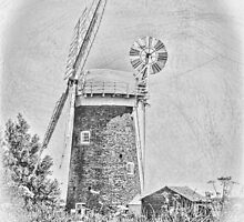 Horsey mill windpump in black and white by Avril Harris
