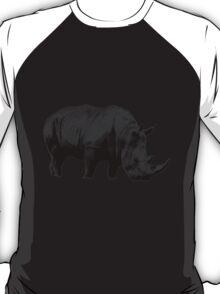 Grazing Rhinoceros. Wildlife Digital Engraving Image T-Shirt