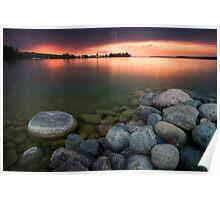Lightning at Sunset - Leech Lake, MN Poster