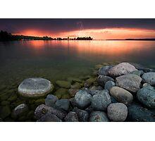 Lightning at Sunset - Leech Lake, MN Photographic Print