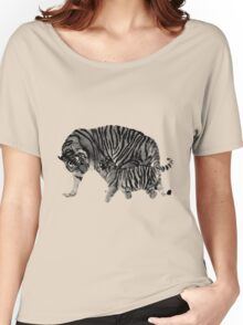 Playful Tigers. Mother and Cub. Wildlife Digital Engraving Image Women's Relaxed Fit T-Shirt