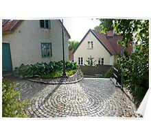 Cobble Courtyard Visby Gotland Poster