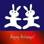 Christmas card. Cheerful bunnies. by artMoni