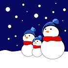 Christmas card. Cheerful snowmen. by artMoni