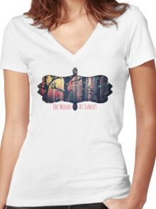 The Woods at Sunset Women's Fitted V-Neck T-Shirt