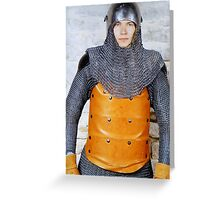 Medieval Soldier in Armour Greeting Card