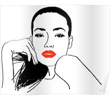 Girl with red lips Poster