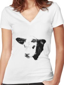 Cow Digital Engraving. Farm Animal Prints and Images Women's Fitted V-Neck T-Shirt