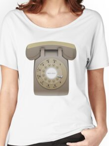 Rotary Phone (beige on white) Women's Relaxed Fit T-Shirt