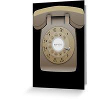 Rotary Phone (beige on black) Greeting Card