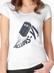 """Allons-y !"" - The Doctor Women's Fitted Scoop T-Shirt"