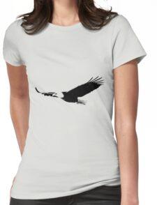 Soaring Bald Eagle. Bald Eagle In Flight. Wildlife Digital Engraving Image. Womens Fitted T-Shirt