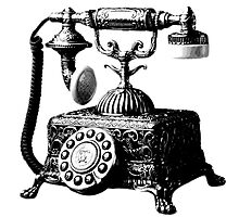 Antique Telephone. Digital Antique Engraving Image by digitaleclectic