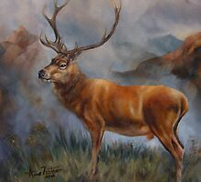 Prince of the Highlands - Red stag by Anne Zoutsos