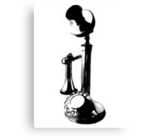 Antique Candlestick Telephone. Antique Digital Engraving Vintage Image. Canvas Print