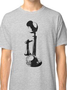 Antique Candlestick Telephone. Antique Digital Engraving Vintage Image. Classic T-Shirt