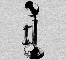 Antique Candlestick Telephone. Antique Digital Engraving Vintage Image. Unisex T-Shirt