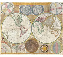 Wall Map of the World in Hemispheres by Thomas Kitchin (1794) Photographic Print