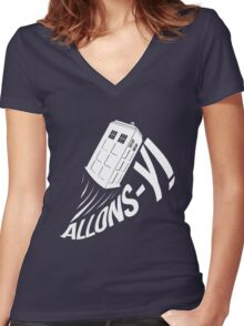 """Allons-y !"" - The Doctor (White Edition) Women's Fitted V-Neck T-Shirt"