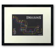 Lord of the Rings Fellowship Route Map Framed Print