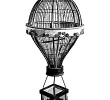 Hot Air Balloon Antique Vintage Birdcage. Antique Digital Engraving Vintage Image. by digitaleclectic