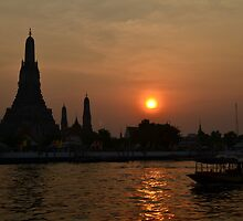 Sunset on the Chao Phraya River by sketchpoet