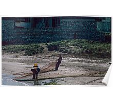 Fishermen hauling in nets Brindisi Harbour 19840403 0018 Poster