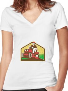 Gardener Landscaper Ride On Lawn Mower Retro Women's Fitted V-Neck T-Shirt