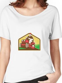 Gardener Landscaper Ride On Lawn Mower Retro Women's Relaxed Fit T-Shirt