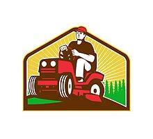 Gardener Landscaper Ride On Lawn Mower Retro by patrimonio