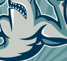 Shark Weightlifter Lifting Weights Mascot Sticker