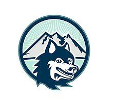 Siberian Husky Dog Head Mountain Retro by patrimonio
