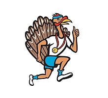 Turkey Run Runner Thumb Up Cartoon by patrimonio