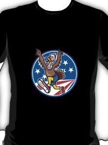 American Turkey Run Runner Cartoon T-Shirt