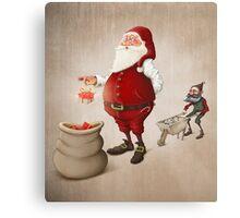 Santa Claus prepares gifts Canvas Print