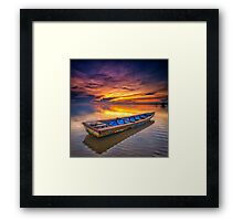 A Sampan and Sunrise Framed Print