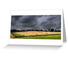 rain storm coming farm Greeting Card