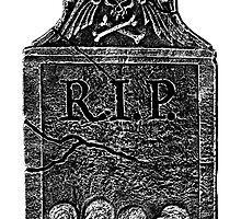 Creepy Halloween Tombstone. Horror and Gothic Digital Engraving Image by digitaleclectic