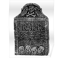 Creepy Halloween Tombstone. Horror and Gothic Digital Engraving Image Poster