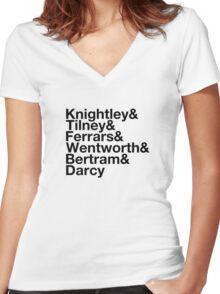 Men of Jane Austen Helvetica Women's Fitted V-Neck T-Shirt