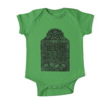Creepy Halloween Tombstone. Horror and Gothic Digital Engraving Image One Piece - Short Sleeve