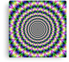 Psychedelic Pulse in Green Blue and Pink Canvas Print