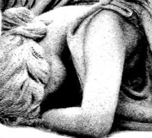 Graveyard Weeping Angel. Creepy Halloween Digital Engraving Image Sticker
