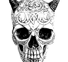 Demonic Halloween Skull. Digital Gothic Horror Engraving Image by digitaleclectic