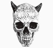 Demonic Halloween Skull. Digital Gothic Horror Engraving Image Kids Clothes