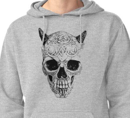 Demonic Halloween Skull. Digital Gothic Horror Engraving Image Pullover Hoodie