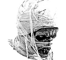 Scary Halloween Mummy. Digital Horror and Gothic Engraving Image by digitaleclectic