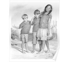 Brothers & sister at the beach Poster