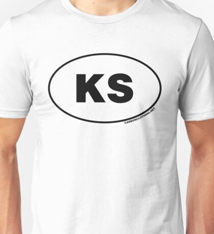 Kansas KS Euro Oval Sticker Unisex T-Shirt